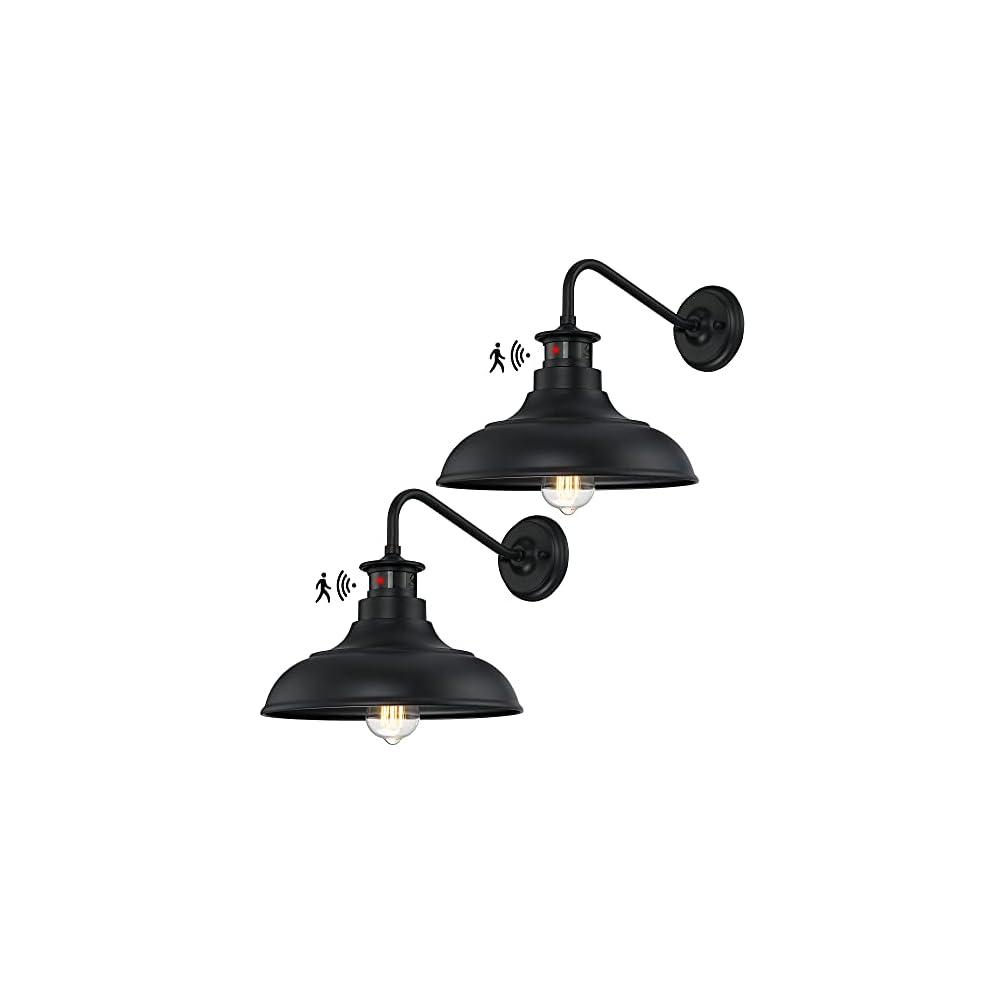 Dusk to Dawn Motion Activated Sensor Gooseneck Outdoor Wall Light Fixture, Industrial Outdoor Barn Light Matte Black…