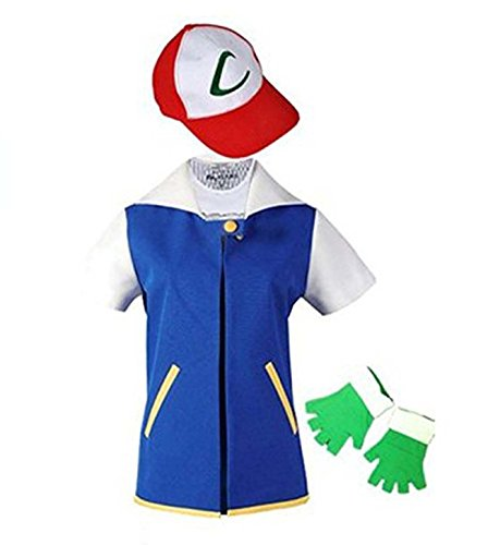 Adult Kids Ash Ketchum Cosplay Costume Jacket Gloves Hat Set Trainer Halloween Hoodie (Ash Ketchum Costume Shirt)