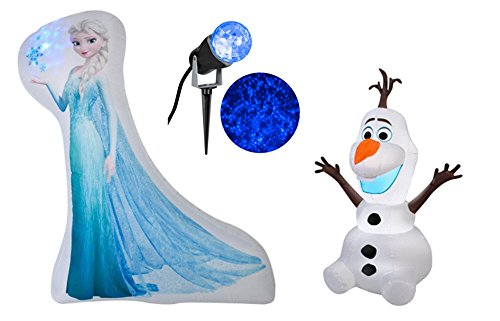 Frozen Elsa Photorealistic Inflatable 5', Olaf Inflatable 3.5' & Blue Projection Stake Light Bundle Christmas Party Decorations Online