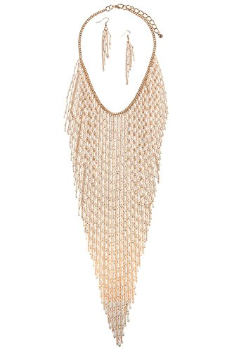 TRENDY FASHION JEWELRY MIXED SEED PEARL CHAIN FRINGE NECKLACE SET BY FASHION DESTINATION by Fashion Destination