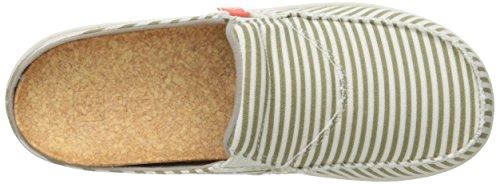 Women's Spenco Montauk Khaki Siesta Stripe Mule Slide TaUTRr