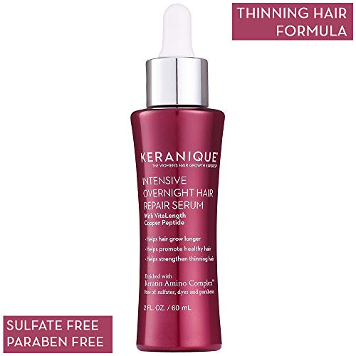 Keranique Intensive Overnight Hair Serum, 2 Fl Oz - Keratin Amino Complex, Sulfate, Dyes and Parabens Free | Helps Grow Longer, Promote Healthy and Strengthen Thinning Hair