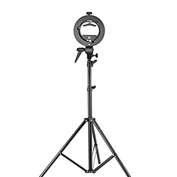 Neewer Studio Photography S-type Speedlite Bracket Holder With Bowens Mount & 75 Inches190 Centimeters Adjustable Light Stand For Flash Snoot Softbox Beauty Dish Reflector Umbrella 0