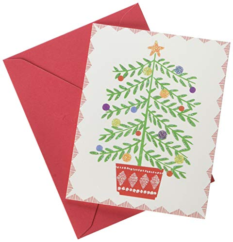 Papyrus Christmas Tree in Pot Christmas Cards Boxed with Red Envelopes, 20-Count