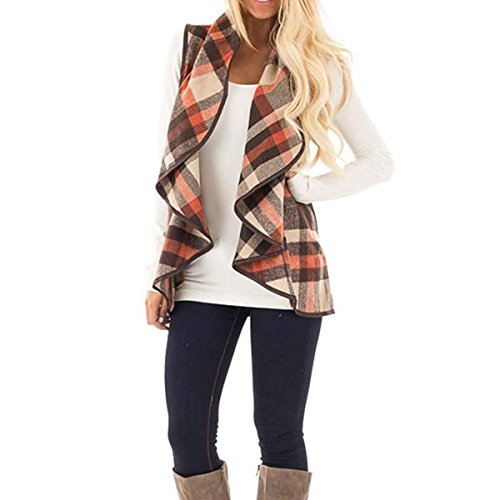 HELIDA Women Plus Size Fall Sleeveless Turn Down Collar Cardigan Tartan Vest Outwear 2XL Coffee