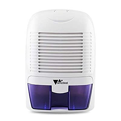 .com - amzdeal Mini Dehumidifier Compact and Portable 50oz Capacity Quiet Dehumidifier for 323 Sq Ft Home Kitchen Bedroom Basement Garage Auto Off -