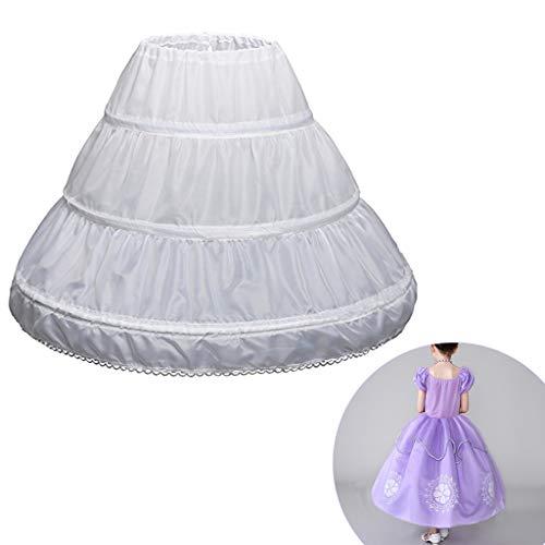 Hacloser Girls Petticoat White Half Slip Prom Dresses Crinoline Lace Trim Flower Girl Dress Underskirt Elastic Waist Drawstring Slip