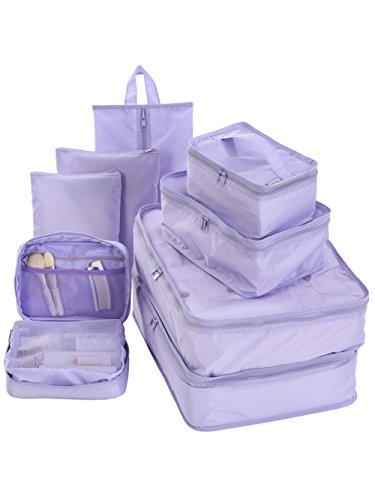 Travel Packing Cubes Set Toiletry Kits Bonus Shoe Bag JJ POWER Luggage Organizers (Purple) ()