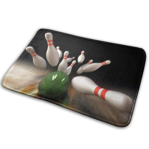Non-Slip Stain Fade Resistant Door Mat Bowling Game Living Room Rug Carpet 15.7