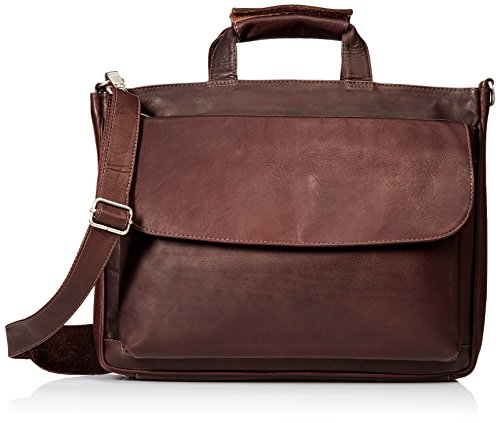 Piel Leather Top-Zip Laptop Brief Tote, Chocolate, One (Laptop Tote Chocolate)