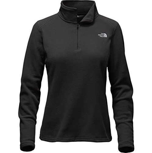 The North Face Women Glacier 1/4 zip fleece in black (Grey Foil Logo) Small