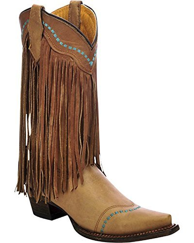 Corral Girls' Cowhide Fringe Cowgirl Boot Snip Toe Taupe 5.5 by CORRAL