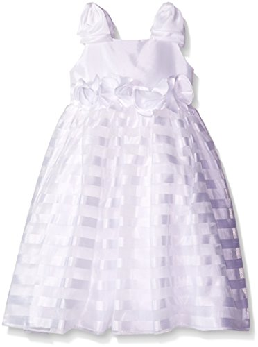 Kleinfeld Pink Little Girls' Toddler  Samantha Shantung To Satin Striped Organza Dress with Bow Straps, White, 3T