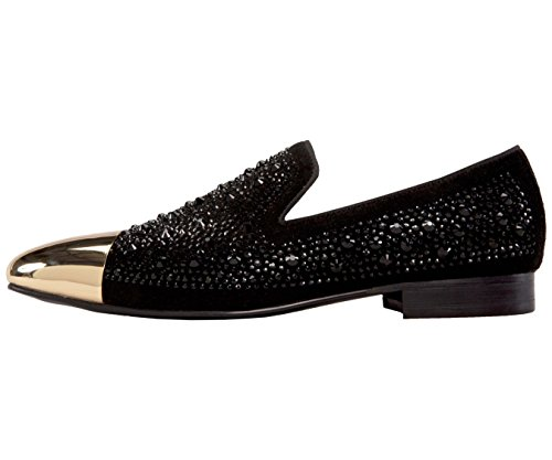 Asher Green Mens Tonal Crystal Covered Suede Slip-On, Gold Metal Cap-Toe Dress Shoe Black