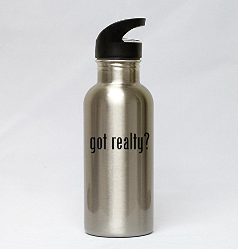 20oz Stainless Steel Silver Water Bottle - got realty?