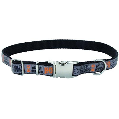 Harley-Davidson Adjustable Ribbon Overlay Dog Collar - Length: 12