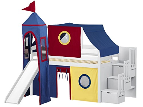 (JACKPOT! Castle Low Loft Stairway Bed with Slide Red & Blue Tent and Tower, Loft Bed, Twin, White)