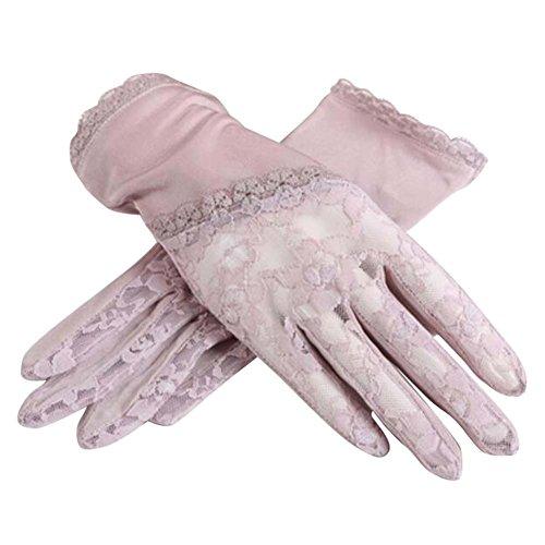粘液見落とす文字薄い&短いスタイル太陽の手袋は、夏に使用する抗UV&タッチスクリーン、薄いモーブ