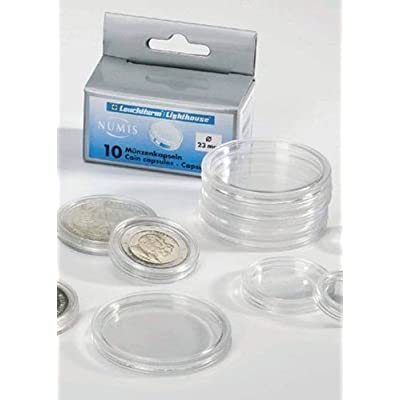 10 Lighthouse Coin Capsules for 38mm Coins (LARGE DOLLARS) - These capsules fit Morgan, Peace, or Ike Dollars (38mm).: Toys & Games