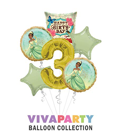 Princess Tiana Once Upon A Time Happy Birthday Balloon Bouquet 6 pc, 3rd Birthday, | Viva Party Balloon Collection