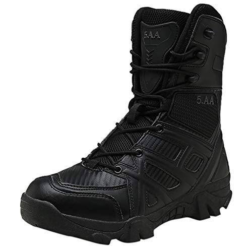 Goddessvan 2019 Men's Fashion Boots Anti-Skid Desert Boots Outdoor Tactical Non-Slip Knee-High Boots Black