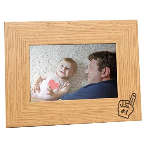 Dust and Things No 1 Dad Picture Frame - Engraved Dad Gifts from Daughter Son Kids - Unique Fathers Day or Birthday Gift - 4x6 Oak Wood Veneer Landscape Keepsake