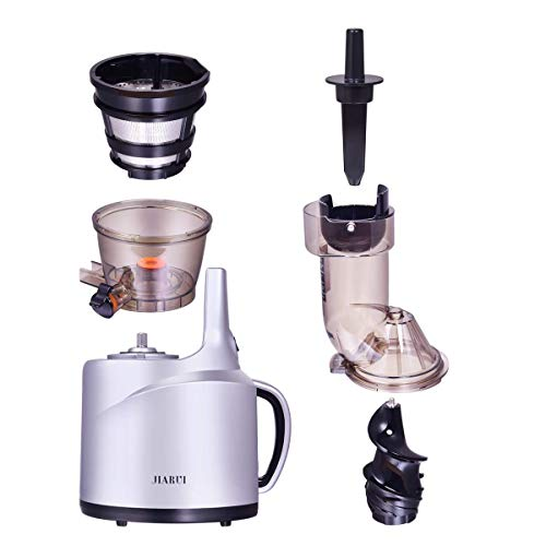 JIARUI 82MM Wide Chute Quite Slow Masticating Vertical Cold Press Juicer, Fruits & Vegetable Juice Extractor (240W AC Motor, 45RPM, BPA Free), 20.9'' x 10.2'' x 6.3'', Silver by JIARUI (Image #4)