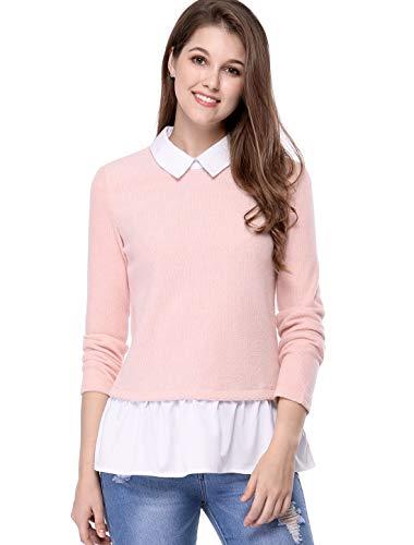 Allegra K Women's Contrast Hem Pullover Knitted Sweater L Pink