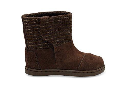 Chocolate Metallic Footwear - TOMS Kids Unisex Suede Metallic Nepal Boot (4 M US Infant, Chocolate Suede)