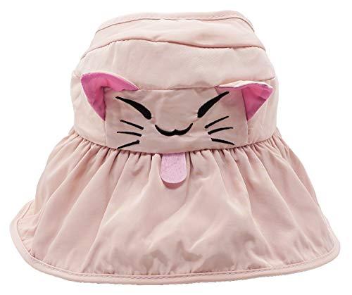 Bienvenu Kids Girls Wide Brim Visor Sun Hat - UV Protection Foldable Beach Cap, Pink