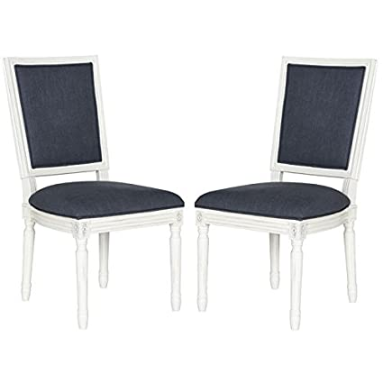 Safavieh Home Collection Buchanan French Brasserie Navy Linen U0026 Cream  Rectangle Side Chair (Set Of