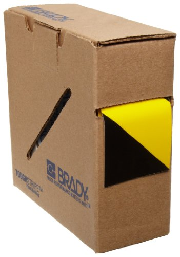 Brady ToughStripe Nonabrasive Diagonal Stripes Floor Marking Tape, 100' Length, 2' Width, Black on Yellow (Pack of 1 Roll)