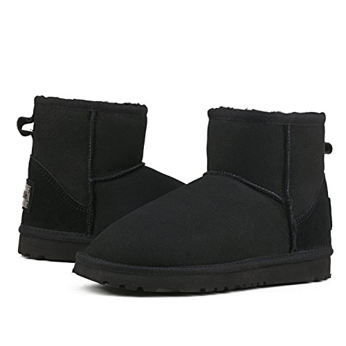 Classic Shenduo Black Women's Snow Ankle Resistant Water D9154 Leather Boots nwXw7UqF