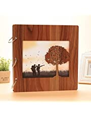 wooden cover photo album with 40 pages