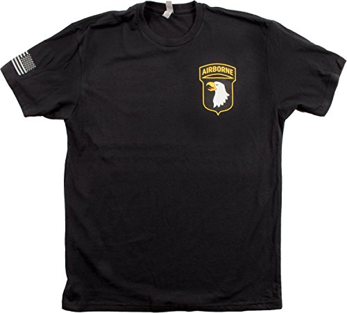 101St Airborne Division   Sleeve Flag   U S  Military Army Veteran 101 T Shirt  Black Xl
