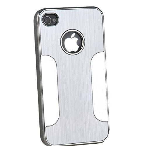 num Skin Hard Back Case Cover for Apple iPhone 4 4G 4S Silver ()