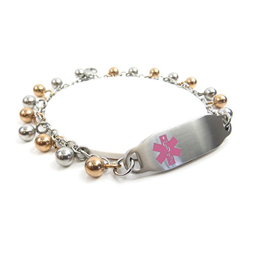 My Identity Doctor - Pre-Engraved Customized Ladies Alzheimer's ID Bracelet Steel Raindrop