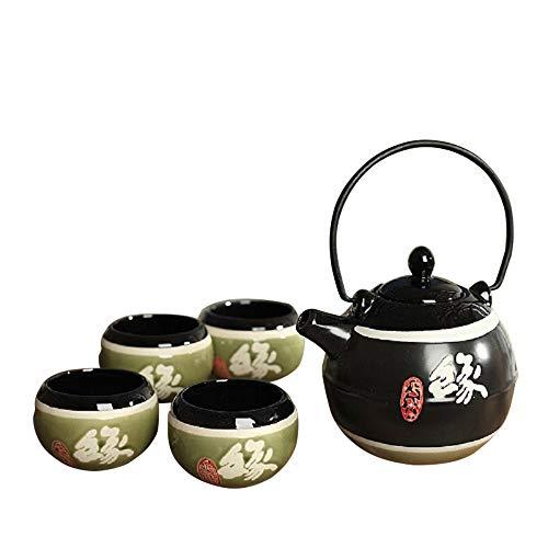 Panbado Tetera con 4 Tazas de Ceramica de Estilo Japones Juegos de Cafe de Porcelana de 5 Piezas Tetera de Te Kungfu de Viaje Portatil, Regalo para Cumpleanos, Navidad, San Valentin - Negro