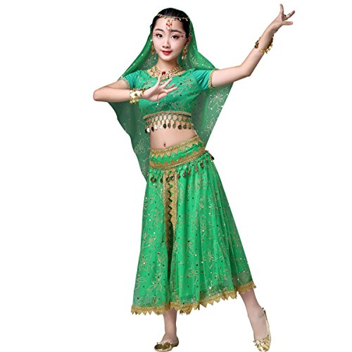 Belly Dance Chiffon Bollywood Costume Indian Dance Outfit Halloween Costumes with Coins 5 Pieces Sets (X-Large, Child-Green) -