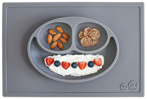 ezpz Happy Mat - One-Piece Silicone placemat + Plate (Gray) (Silicone Kids Happy Mat)
