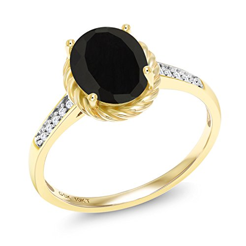 Gem Stone King 2.07 Ct Oval Black Onyx White Diamond 10K Yellow Gold Ring (Size 7) ()