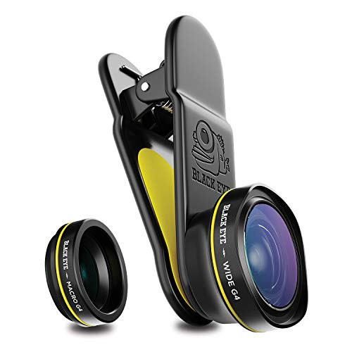Phone Lenses by Black Eye || Combo G4 (Wide + Macro) Clip-on Lens Compatible with iPhone, iPad, Samsung Galaxy, and All Camera Phone Models ()