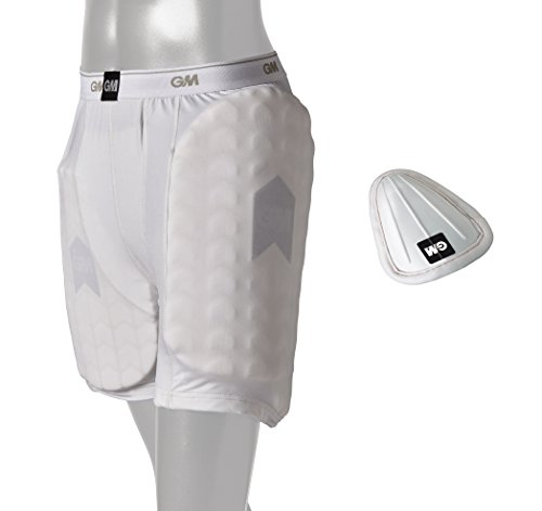 GM Cricket 909 Shorts with Protective Padding Set (Left & Right) and Abdominal Guard ' Men's Size by Gunn & Moore