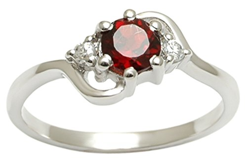 Banithani Garnet Gemstone 925 Sterling Silver Women Finger Ring Indian Fashion Jewelry - Garnet Sterling Silver Designer Ring