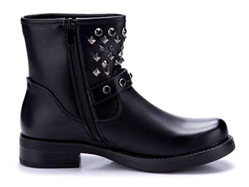 Schuhtempel24 Damen Schuhe Klassische Stiefeletten Stiefel Boots Blockabsatz Schnalle/Nieten/Ziersteine 4 cm Schwarz