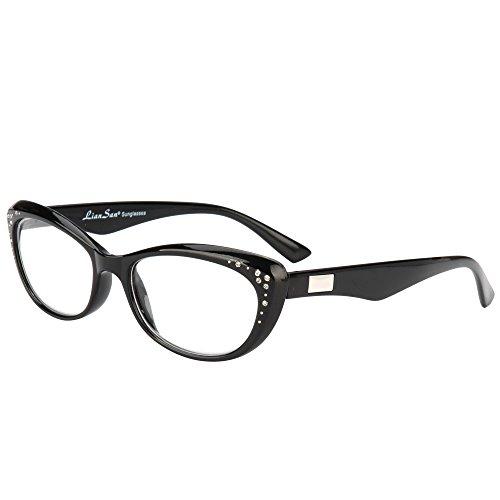 LianSan Fashion Brand Women Reading Glasses Cat Eye Reading Eyeglasses with Rhinestones L3705X (+3.50, black)