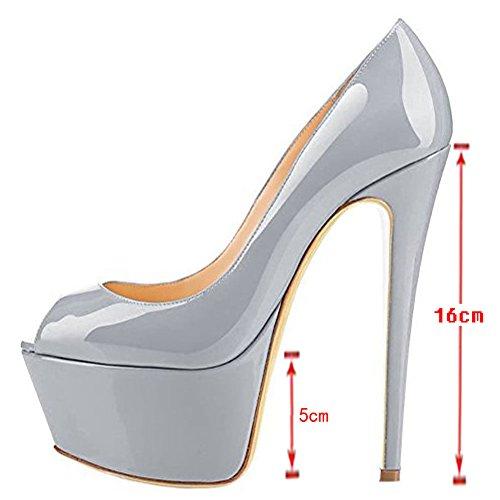 Merumote Womens Pumps Pump Peep Teen Platform Shoes For Wedding Party Dress Grey