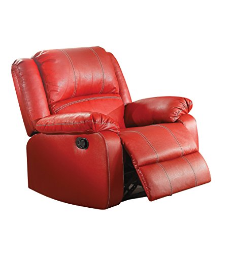 Red Leather Recliners (Acme Furniture ACME Zuriel Red Faux Leather Rocker Recliner)