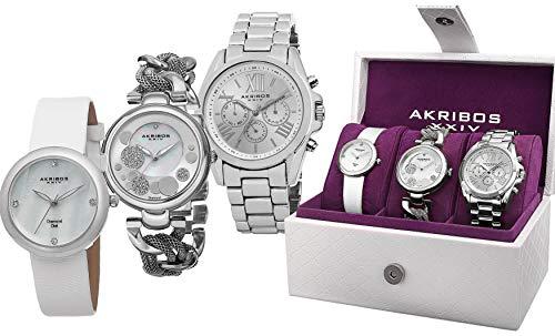Akribos XXIV Women's 3 Watch Gift Set - 1 Multifunction On Bracelet, 1 Crystal Watch on Chain Link, 1 Petite Diamond Watch on Leather Strap - AK738 (Akribos Watch Links)