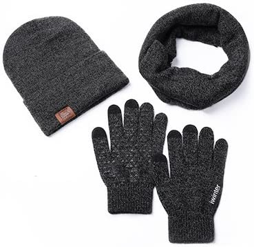 Grey ease Home Unisex Hat Scarves Gloves Set Thermal Winter Warm Knitted Beanie Hat Neck Warmer and Touchscreen Gloves